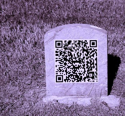 QR code tombstone b&w