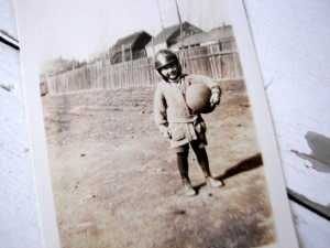 little boy football player vintage